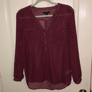 GAP Maroon Blouse with White Detailing